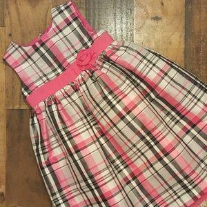 Girls Plaid Rosette Dress